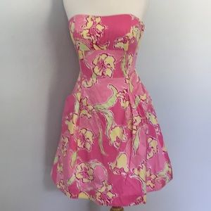 Lilly Pulitzer Pink&Yellow Lillies Strapless Dress